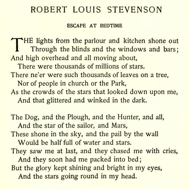 Escape At Bedtime by Robert Louis Stevenson