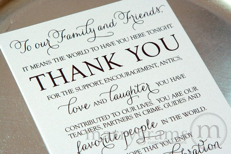 Wedding Reception Thank You Card To Your Guests  To Our Friends