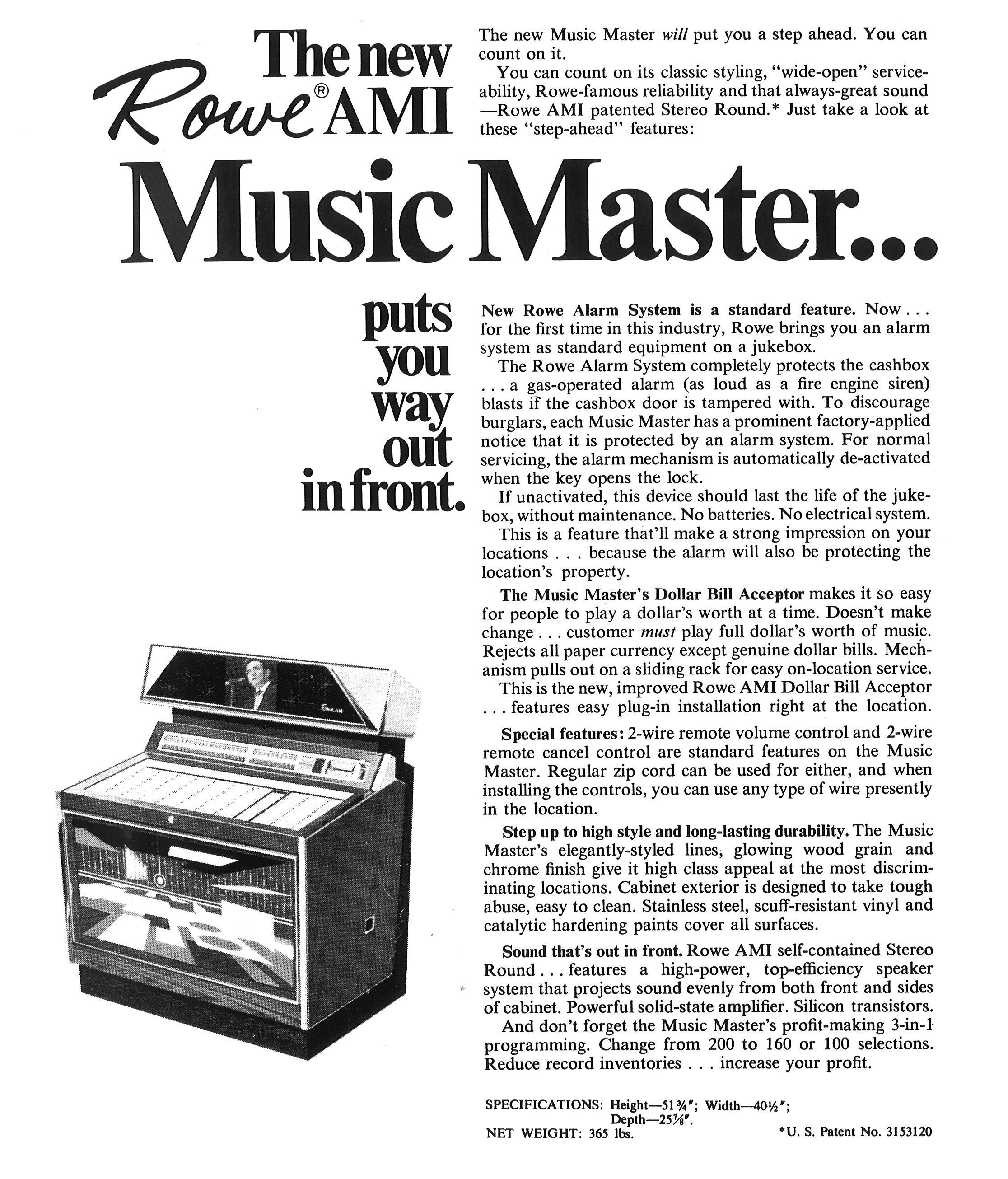 1968,Rowe-AMI's Music Master sell sheet: