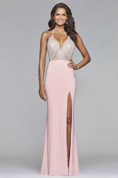 Faviana - s10060 Plunging V-Neckline Jersey Gown | Mermaid ...
