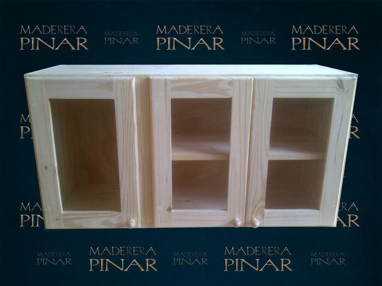 Alacena de pino con puertas para vidrio medidas 1 20 x 0 for Fabrica de muebles de pino precios