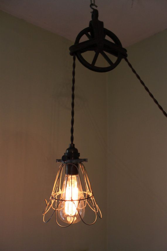 Antique pulley wheel lamp with cage cover by pgpostals on etsy 190 00