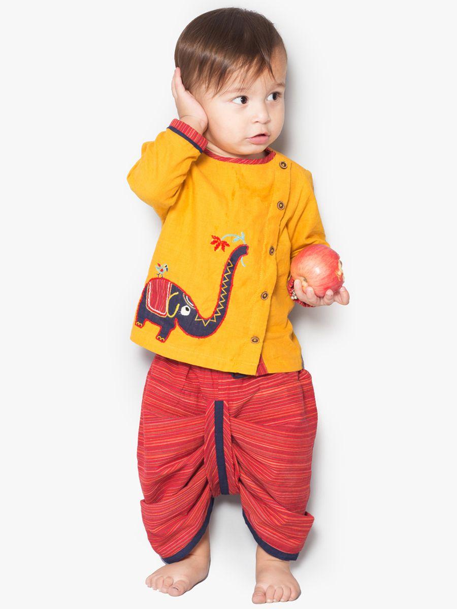 ad61be75f80 Buy Yellow Elephant Dhoti Kurta Set. Buy Yellow Elephant Dhoti Kurta Set  Kids Indian Wear ...