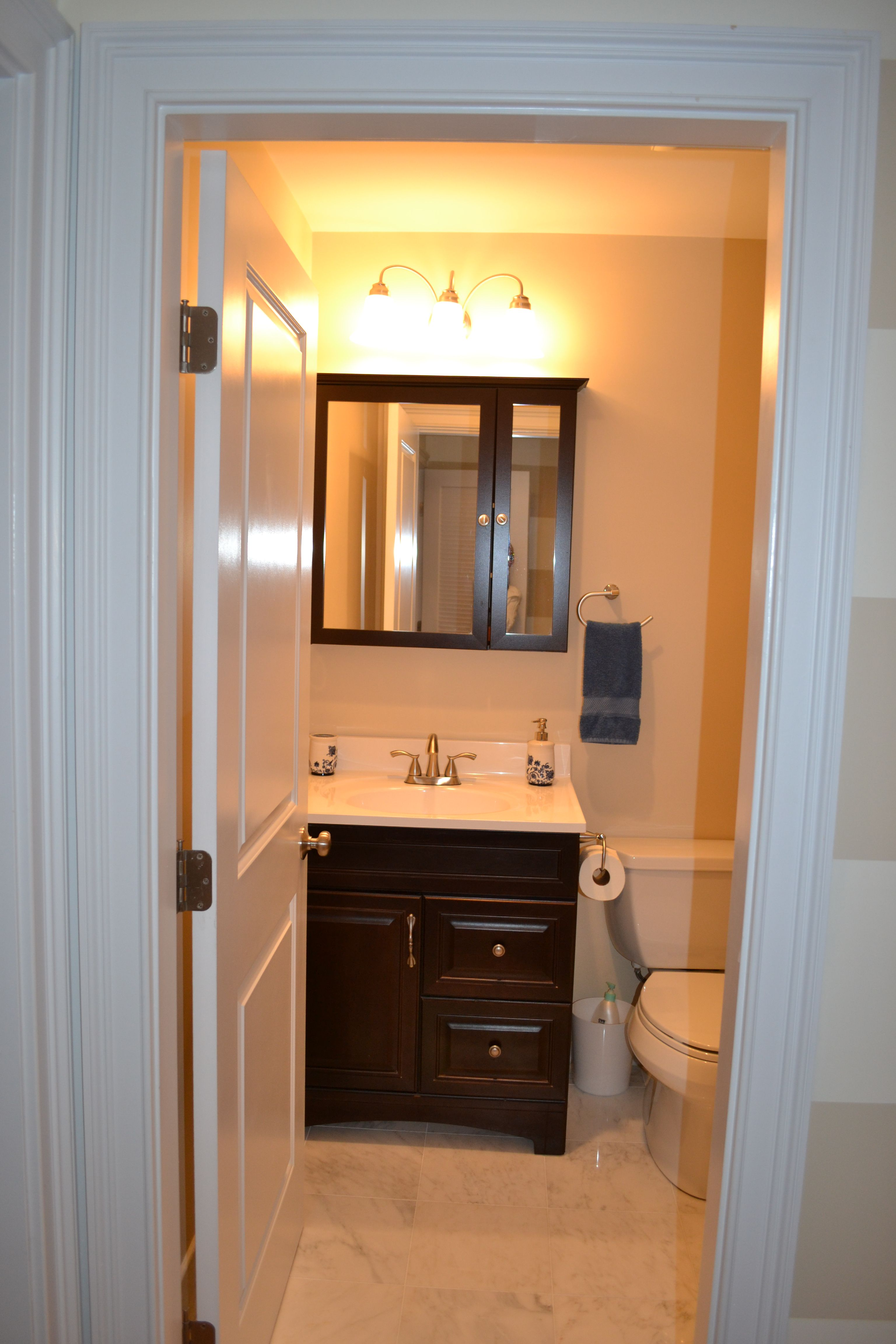 Minimalist Bathroom Small Guest Bathroom Design Ideas With Mirror As The Bathroom Storage Half Bathroom Decorating Ideas For Small Bathrooms With Good Color