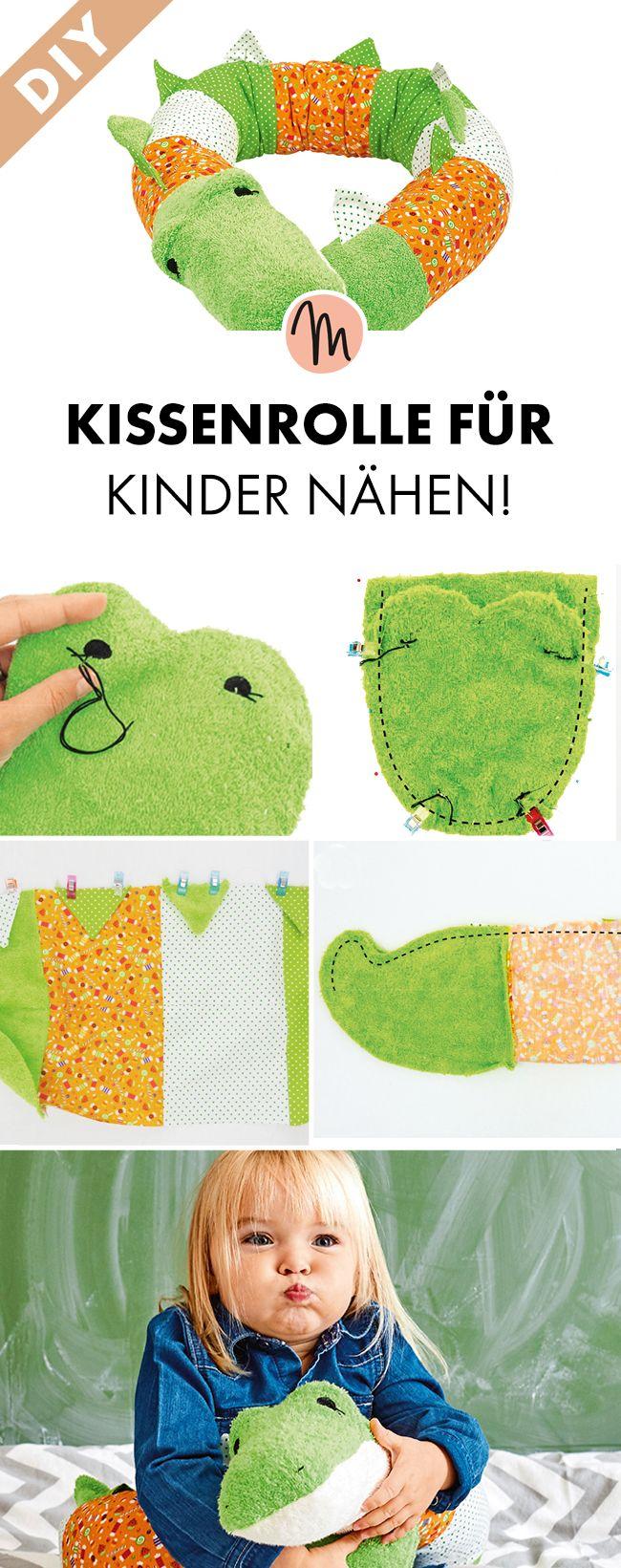 Krokodil-Kissenrolle für Kinder nähen! | Kostenlos nähen, Kinder ...