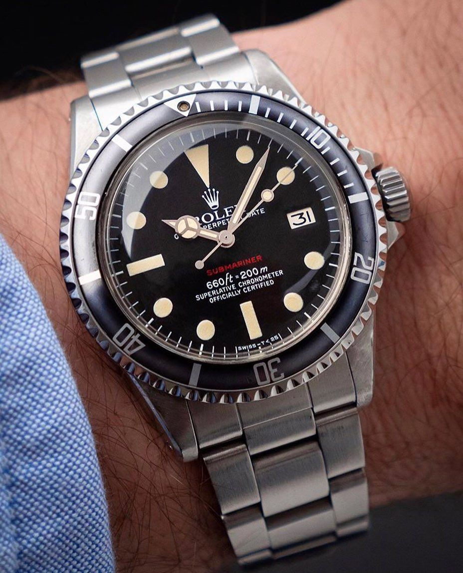 One Of The Most Beautiful Vintage Diver A Lot Of Charme In This Rolex Submariner 1680 Red Text Horology Vintage Watches Rolex Watches Classic Watches