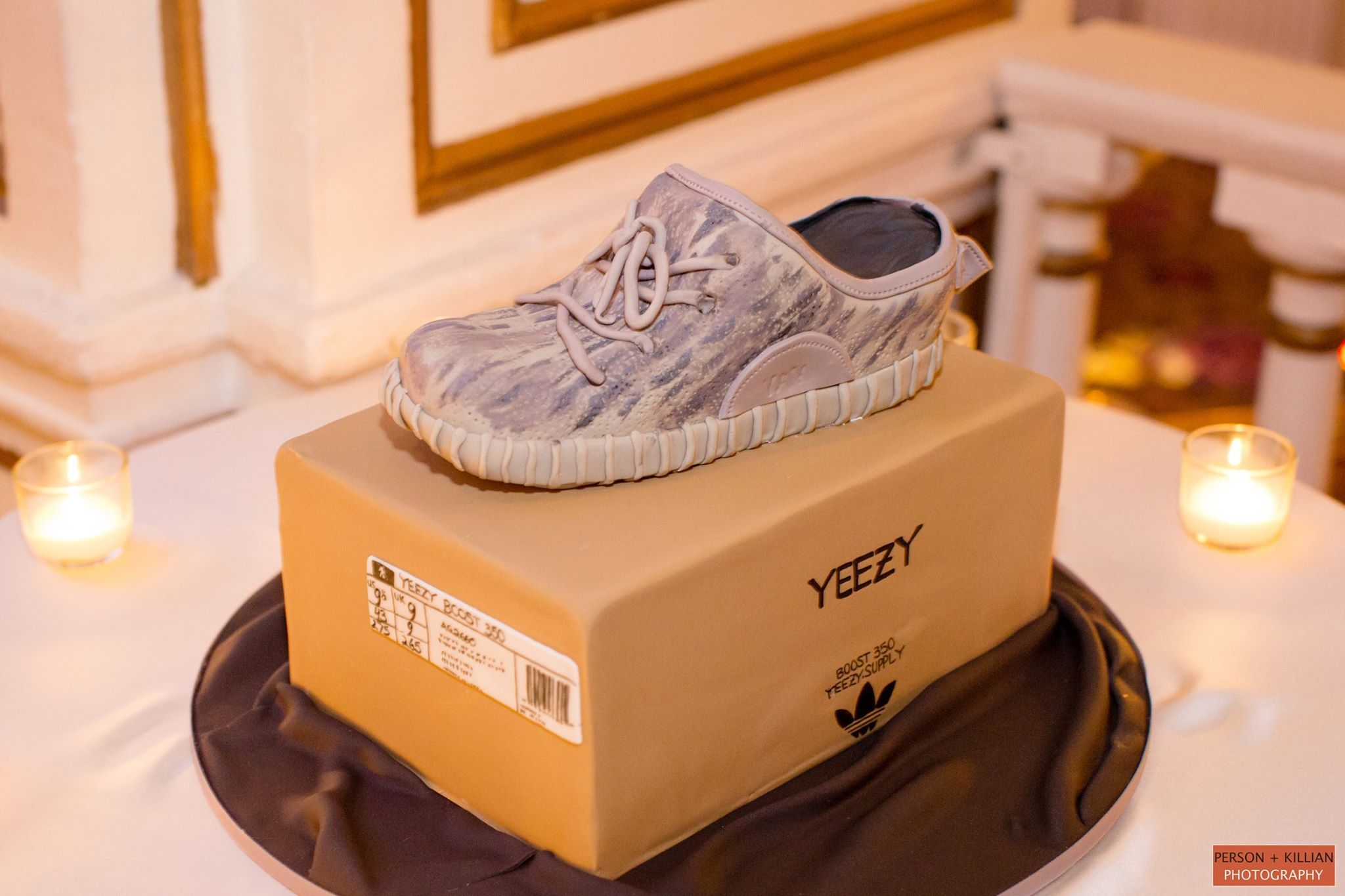 fe089b6ba3b Groom s Cake at Fairmont Copley Plaza. Yeezy Cake for fans of Kanye West!  Person + Killian Photography.