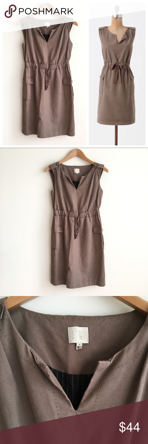 """Coquille Anthropolgie Brown Taupe Utility Dress """"Attention to Detail"""" dress. Sleeveless dress with split neckline. Button detailing on shoulders and side pockets. Cinched at waist with drawstring. . Fully lined. Shell is 51% cotton, 49% tencel. Excellent condition. Anthropologie Dresses"""