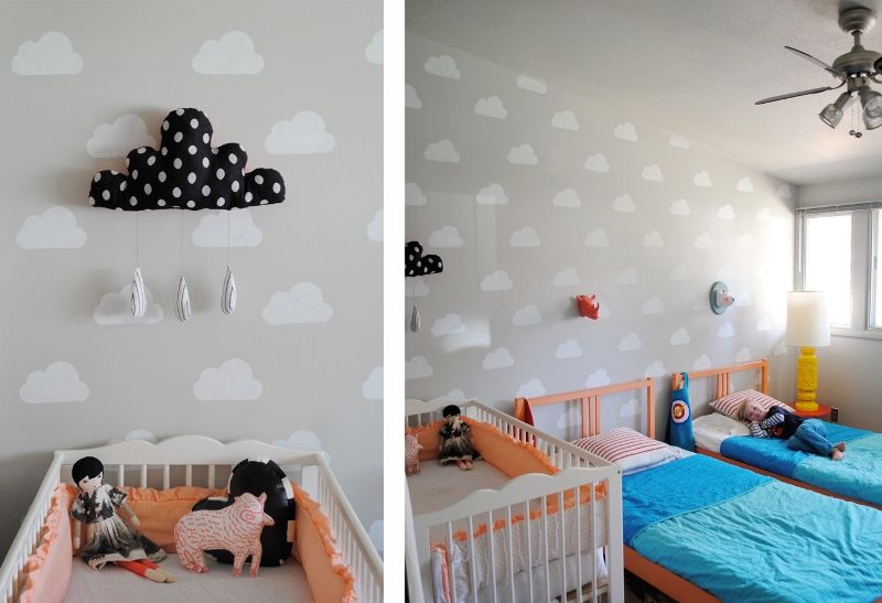 Habitacion Con Nubes 02 Interiorismo Habitaciones Para Ninos - Como-pintar-habitacion-infantil