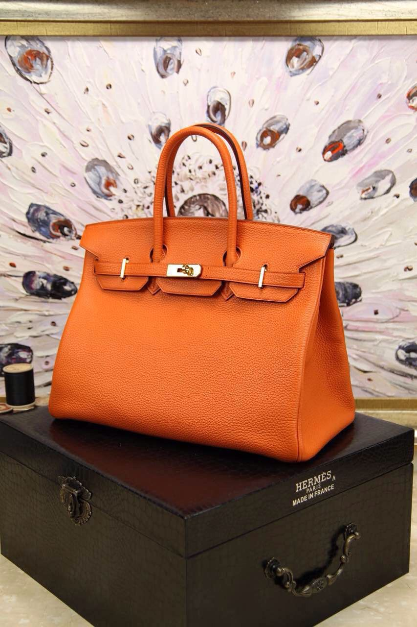 dd9ee2741ec2 Hermes Togo Birkin 35 Orange Golden
