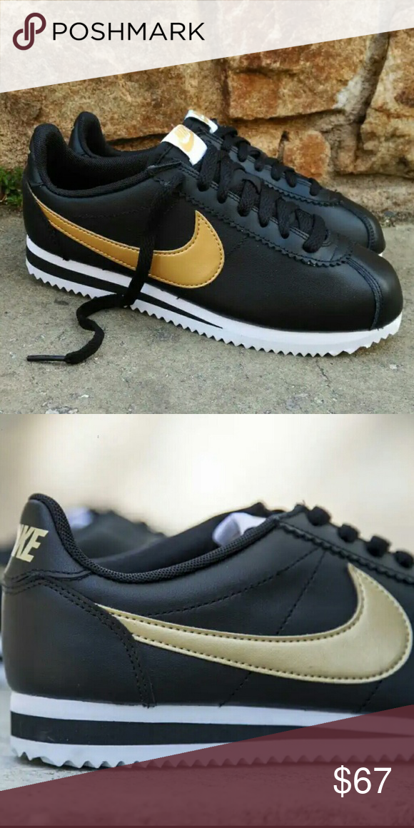Nike Leather Black And Gold Cortez Nike Leather Black And Gold Cortez These Shoes Are Narrow And Run Small Nike Leather Nike Cortez Leather Nike Cortez Shoes