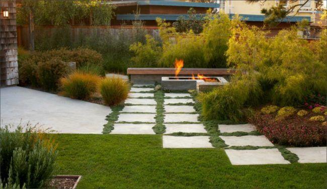 Vorgartengestaltung Beispiele Pflastersteine Terrasse Beton