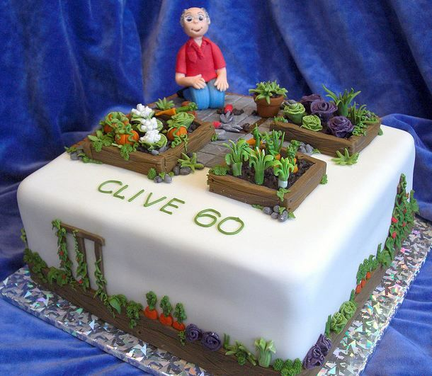 Cool Vegetable Gardening Square White Birthday Cake With 60 Year Old Man