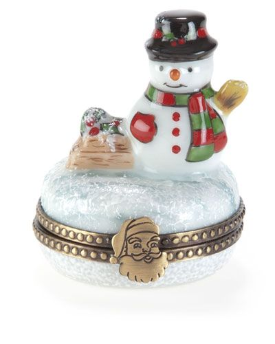 Rochard Snowman Limoges Box with Snowball