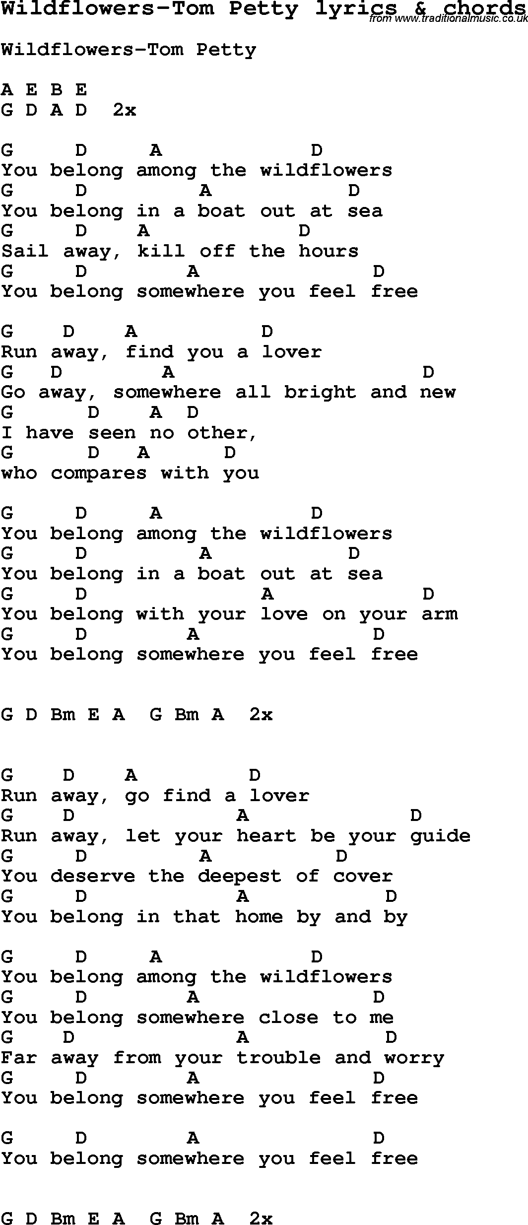 Tomm Petty Wilfllowers Love Song Lyrics For Wildflowers Tom Petty