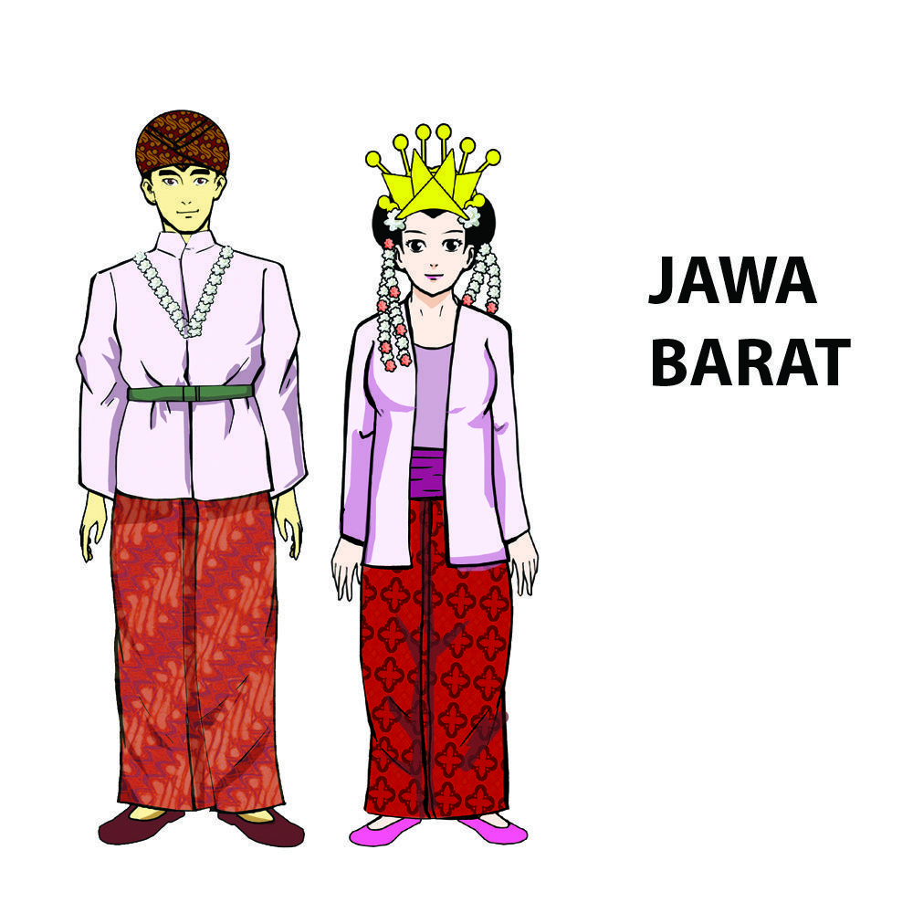 Gambar Kartun Pakaian Adat Jawa Tengah