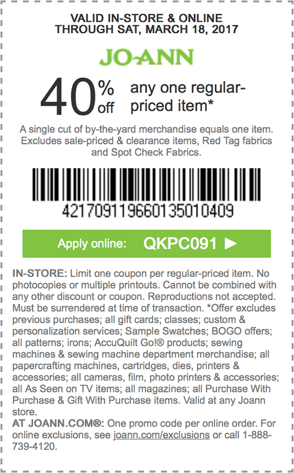 40 off any one regularpriced item. APPLY ONLINE QKPC091
