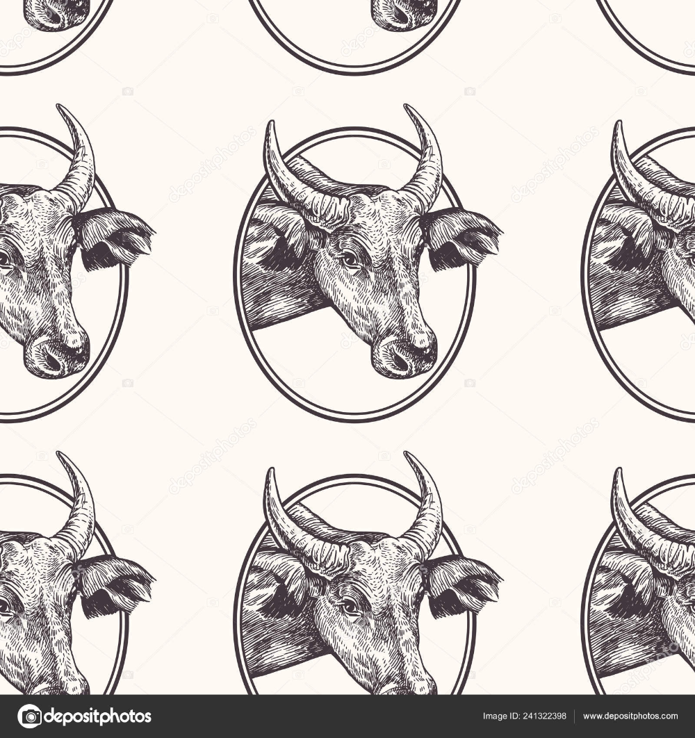 Cow. Seamless pattern with farm animal. Hand drawing of ...