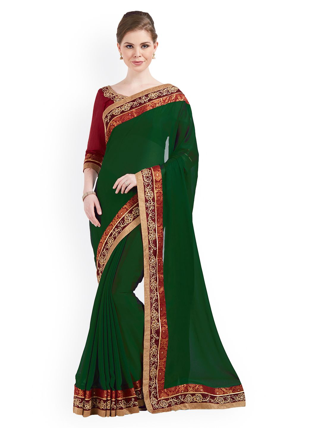 ec6ccd033 Buy Indian Women Green Solid Pure Chiffon Saree - Sarees for Women 2398161