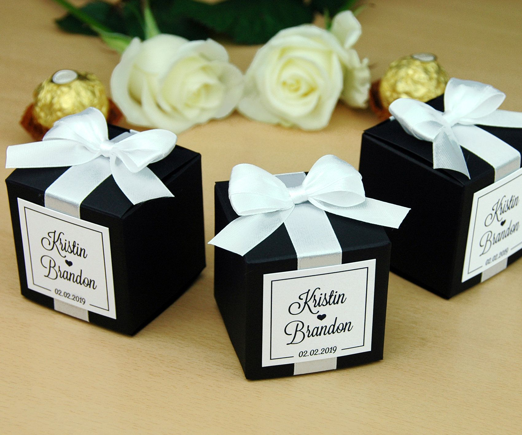 Personalized Wedding Favor Boxes For Guests Elegant Wedding Etsy Personalized Wedding Favor Box Wedding Favor Boxes Personalized Wedding Favors