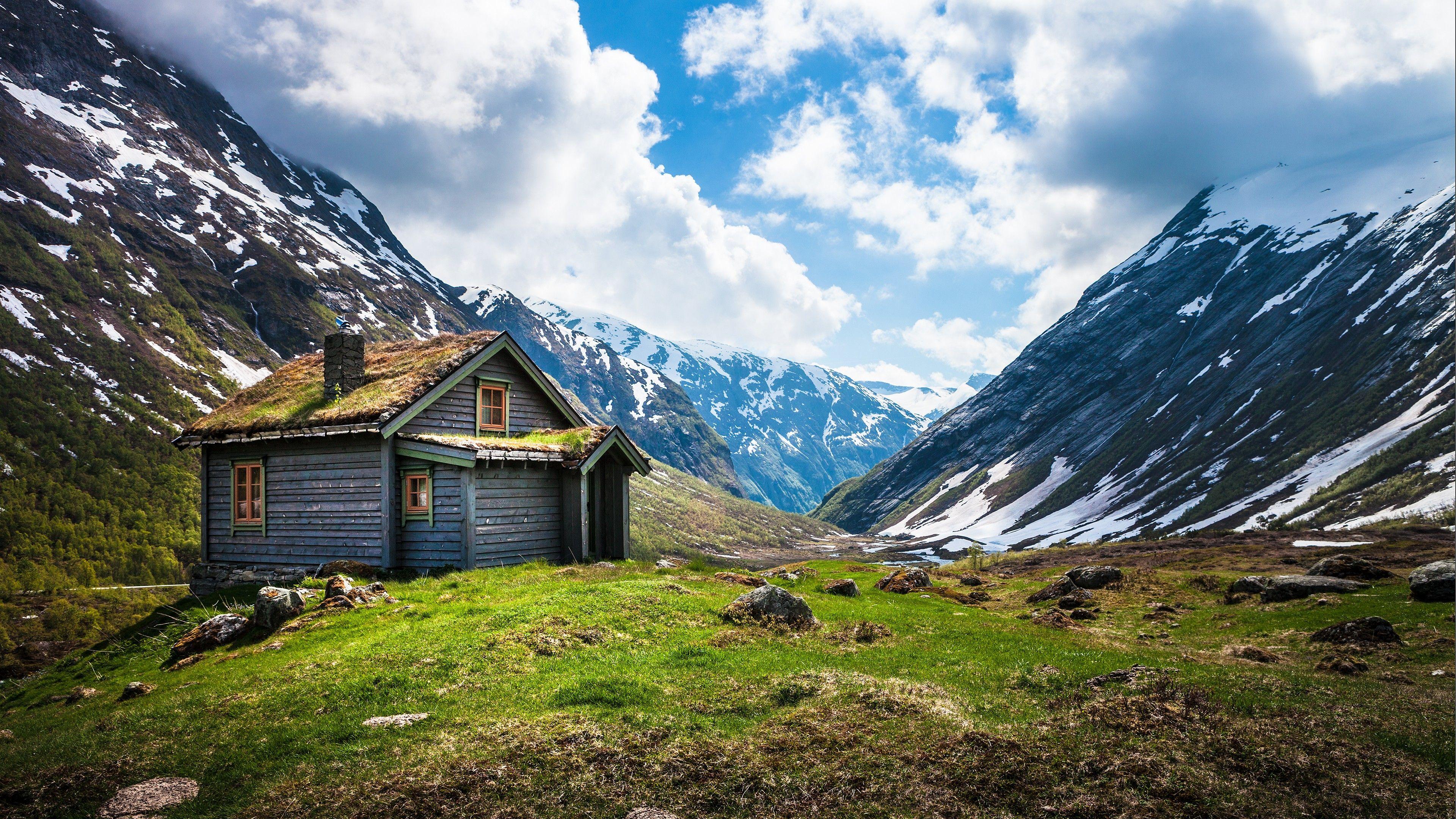 Norway 4k Hd Wallpaper Geiranger Stryn Mountain Clouds House