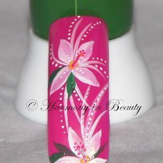 Nail Art Tutorials - hand painted Flower Nail Art