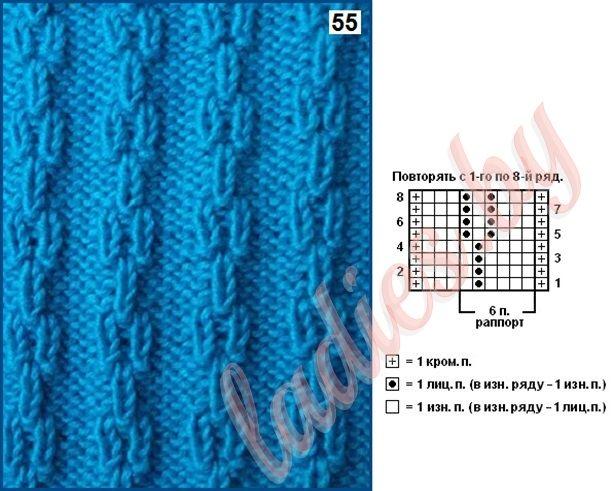 вязание спицами узоры полосами