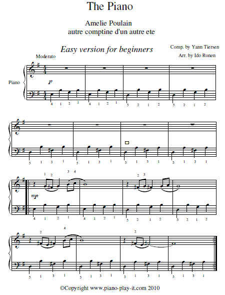 Amelie Soundtrack Piano Sheet Music (Easy Version