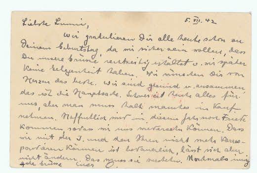 1942年の今日、7月5日付けのポストカード。アンネ・フランクの父オットーは、急いでスイスの妹宛にこのハガキを書きました。ナチの検閲を通過するため、慎重に言葉を選んで、今後は手紙を書くことができないと伝えました。「わたしたちは健康で、みんないっしょにいる。これが大事なことだ。」と書き、この翌日、家族で隠れ家に潜伏します。