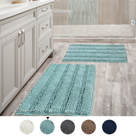 47x17 Inch Oversize Non Slip Bathroom Rug Shag Shower Mat Soft Thick Floor Mat Machine Washable Bath Mats With Water Absorbent Soft Microfibers Long Striped Rug Washable Bath Mat Bathroom Rugs Shower Mat
