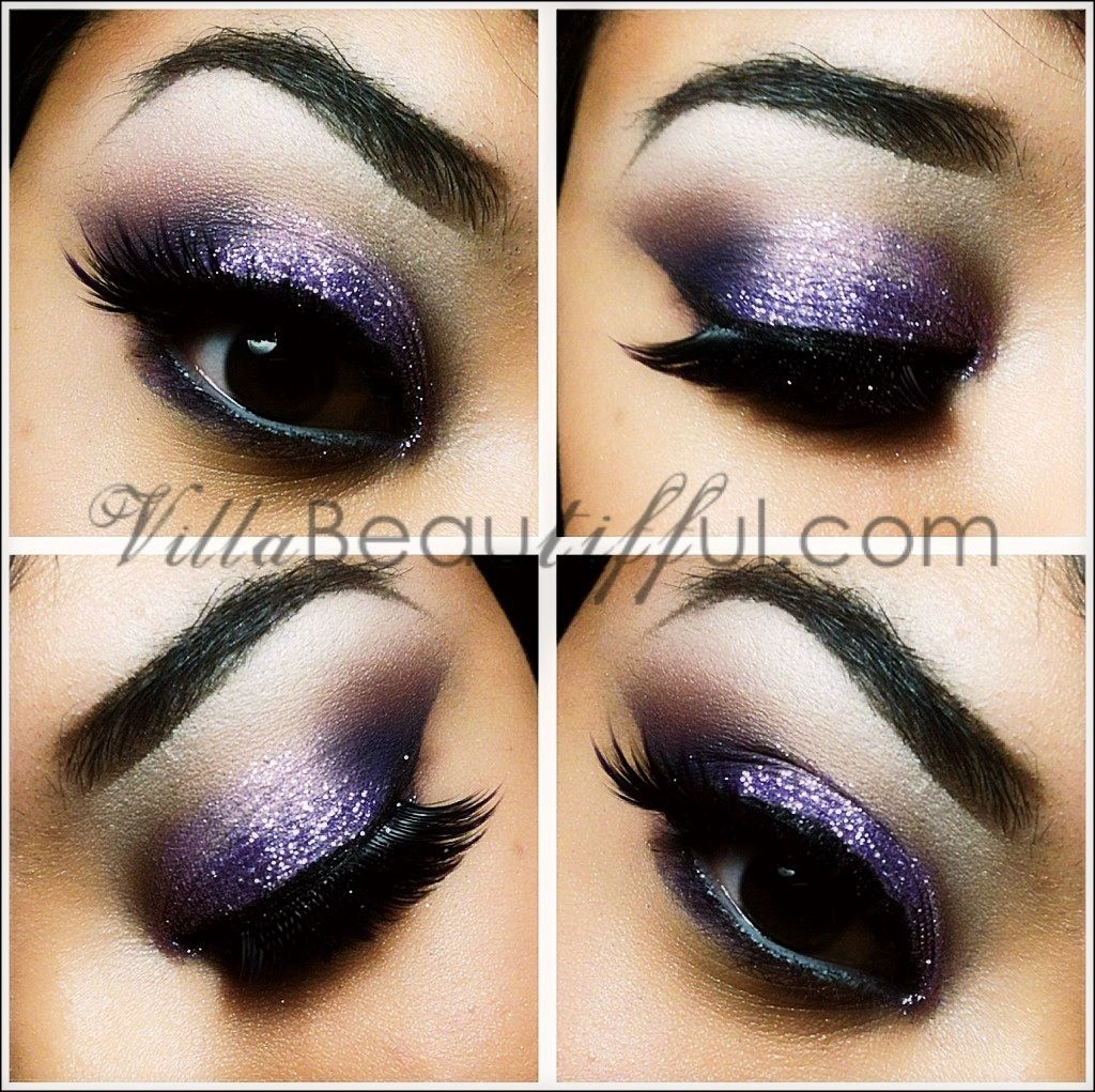 Purple glitter smokey eye makeup like but not so heavy with the hair makeup baditri Image collections