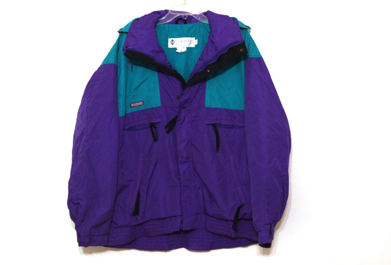 Vintage 80s Columbia jacket shell teal purple mens vamoose