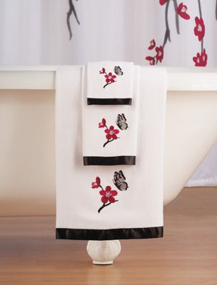 Asian Cherry Blossom 3-Pc. Bathroom Towel Set..i would use these for ...
