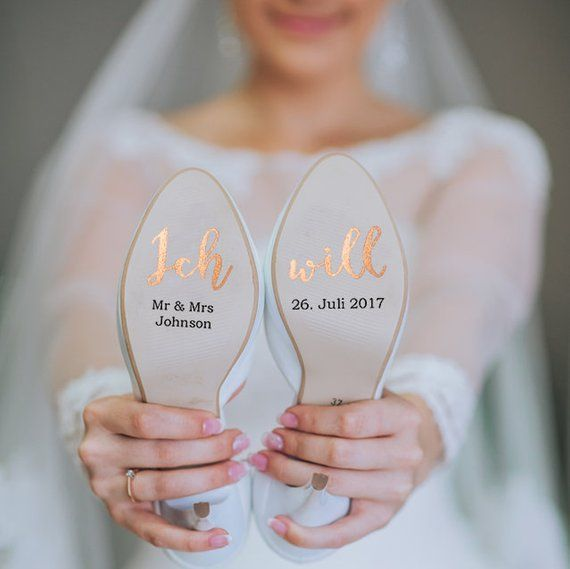 Photo of Customizable shoe stickers for your wedding on vinyl foil rosegold for you and him, bridal shoe, groom shoe, wedding shoe