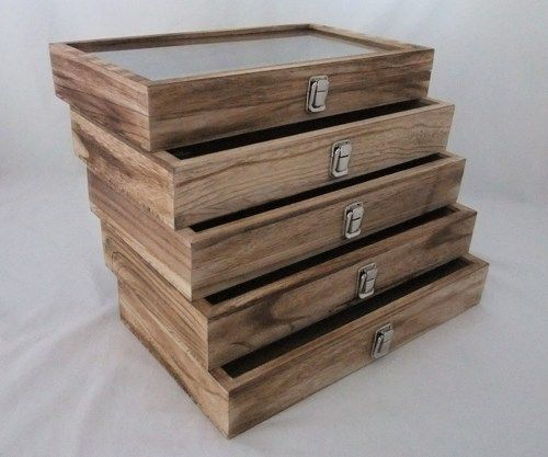 Rustic Antique Oak Color Wood Glass Top Display Cases Package Of 5