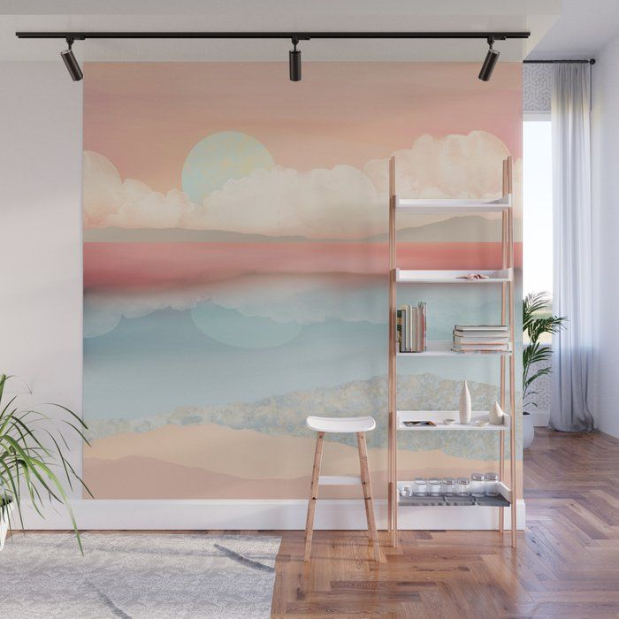 Bold Accent Wall With Coastal Design: Buy Mint Moon Beach Wall Mural By Spacefrogdesigns