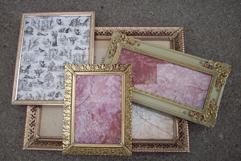HOLD...Frame set of 4, Large filigree picture frame, Vintage gold ...