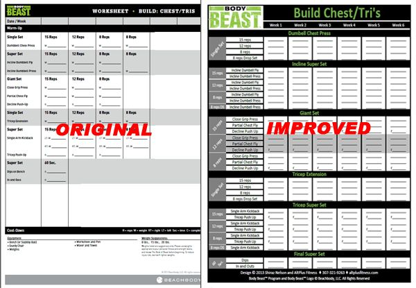 Body Beast Worksheets - New and improved Body Beast workout sheets - workout program sheet