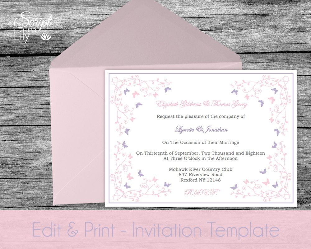 Butterfly Invitation Template | DOWNLOADABLE | EDITABLE Text ...