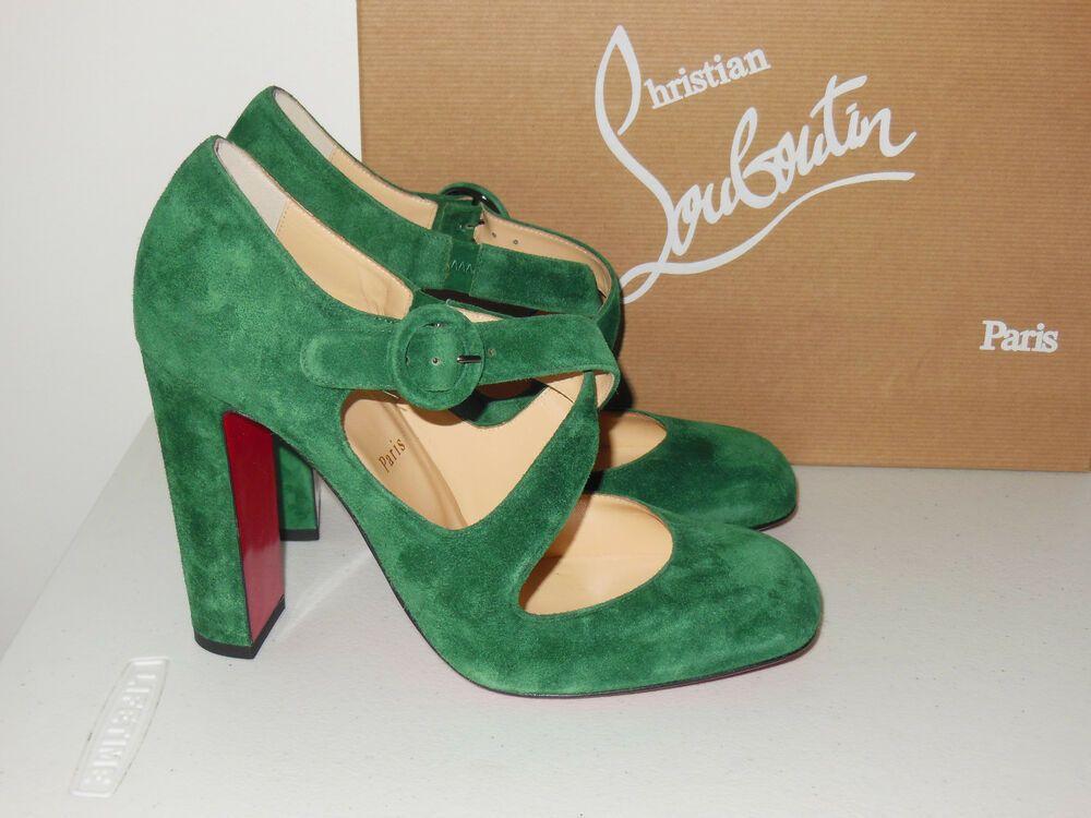 c13a9745ad8 ENDING SOON  CHRISTIAN LOUBOUTIN GREEN MISS ELLEN CRISSCROSS SUEDE PUMPS  SIZE 40  shoes