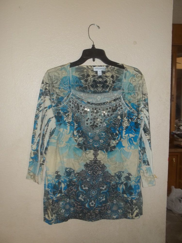 Geometric Fashion Bug  3/4 sleeves blouse
