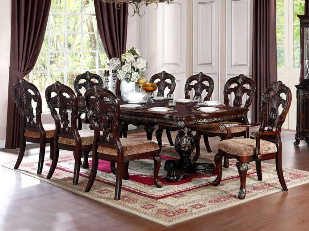 Room Empire Wooden Dining Table With 8 Chairs