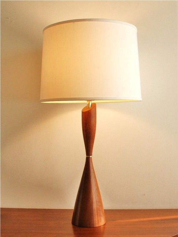 Midcentury Modern Wooden Table Lamp Vintage Mid Century