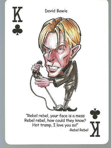 DAVID BOWIE - Oddball ROCK & ROLL Playing Card by DAVID BOWIE. $4.49. MINT Condition Card ... Very Nice Looking! ... Originally part of a deck of caricature-style playing cards ... Rather tough to find as a single card ... Same size as a regular trading card (2.5 inch by 3.5 inch) ... Back of card has a generic design ... No manufacturer/year or card number listed ... Nice Hard to Find Addition to your Collection ... Nice Gift Item for any Fan !! ... Accepted payment m...: