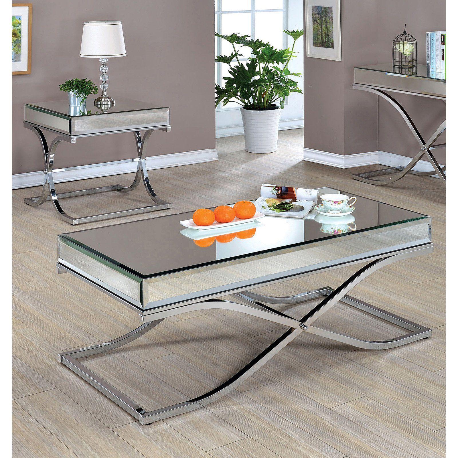 Furniture Of America Sarita Mirror Top 2 Piece Coffee Table Set