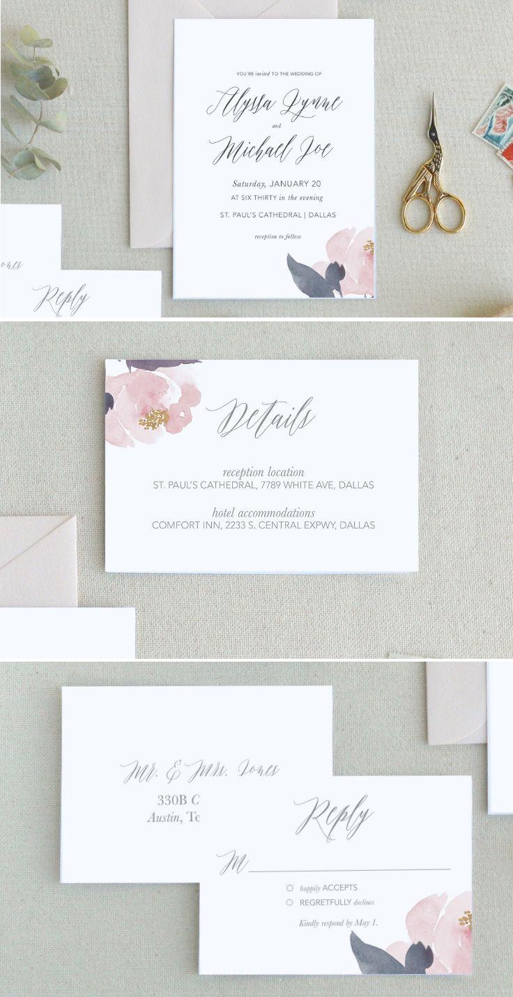 Peony Wedding Invitations Templates. Minimal Wedding Invitations ...