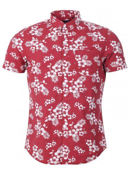 695dd7ee8f66 Mens Red Surf Hawaiian Print Short Sleeve Shirt