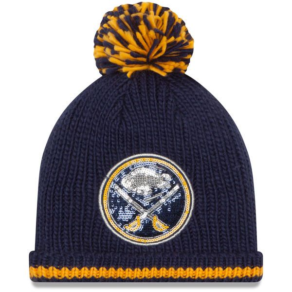 9d97933d97a Women s Buffalo Sabres New Era Navy Sequin Frost Cuffed Knit Hat with Pom