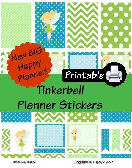 New BIG Happy Planner Tinkerbell PDF PRINTABLE Planner Stickers Erin Condren Planner Filofax Plum Paper Decorating Kit Disney by WhimsicalWende on Etsy