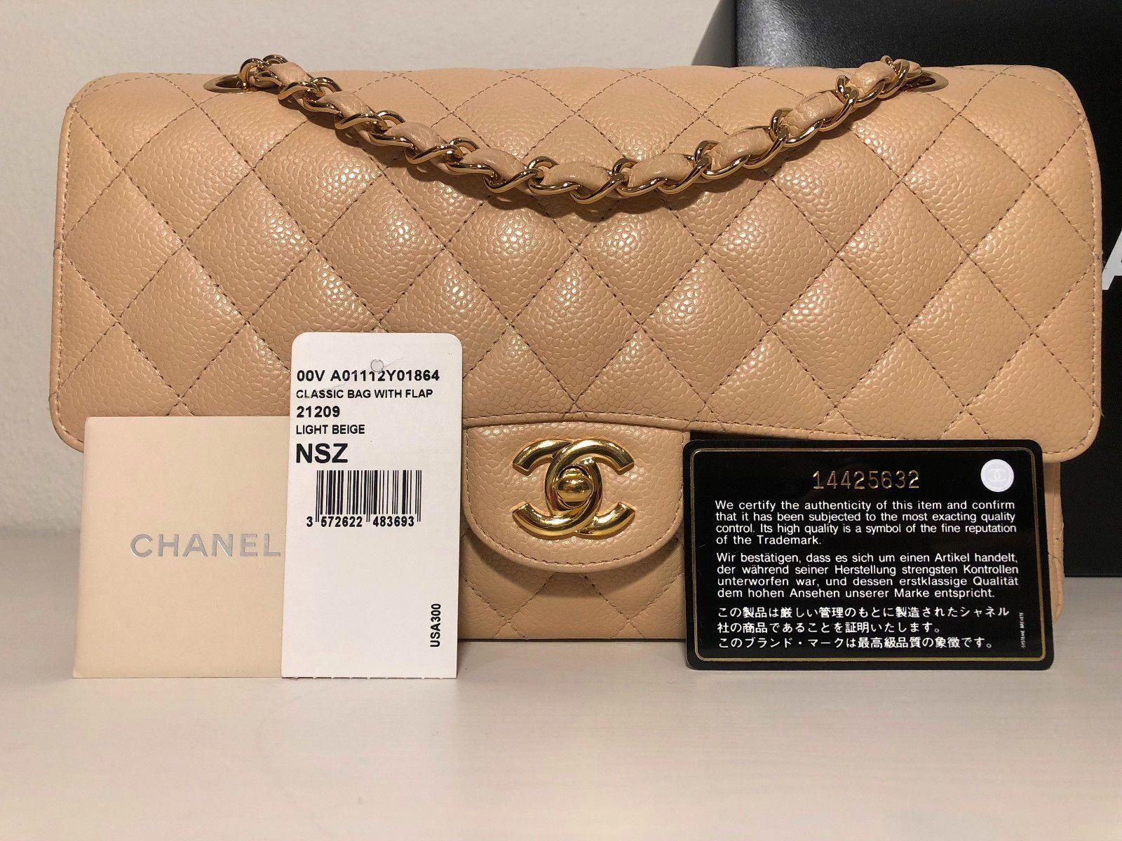 ea3dfe051a3d44 CHANEL Medium Beige Caviar Classic Flap Bag w/Gold Hardware #Chanelhandbags